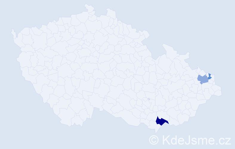 Příjmení: 'Langříková', počet výskytů 6 v celé ČR