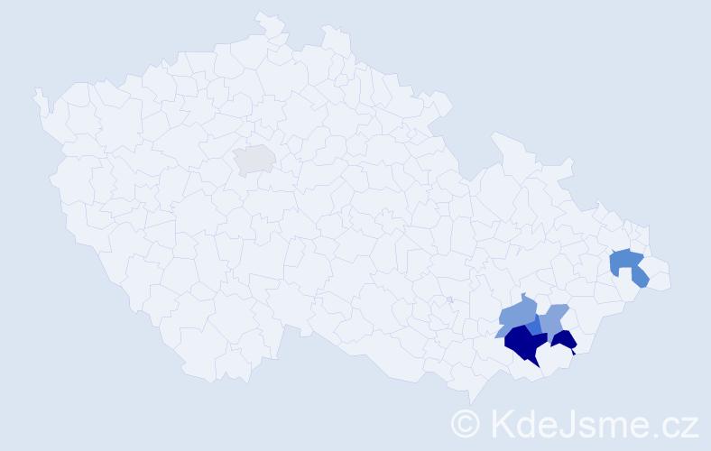Příjmení: 'Čučová', počet výskytů 11 v celé ČR