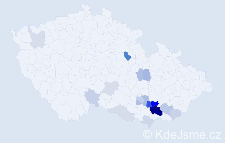 Příjmení: 'Blahutková', počet výskytů 38 v celé ČR