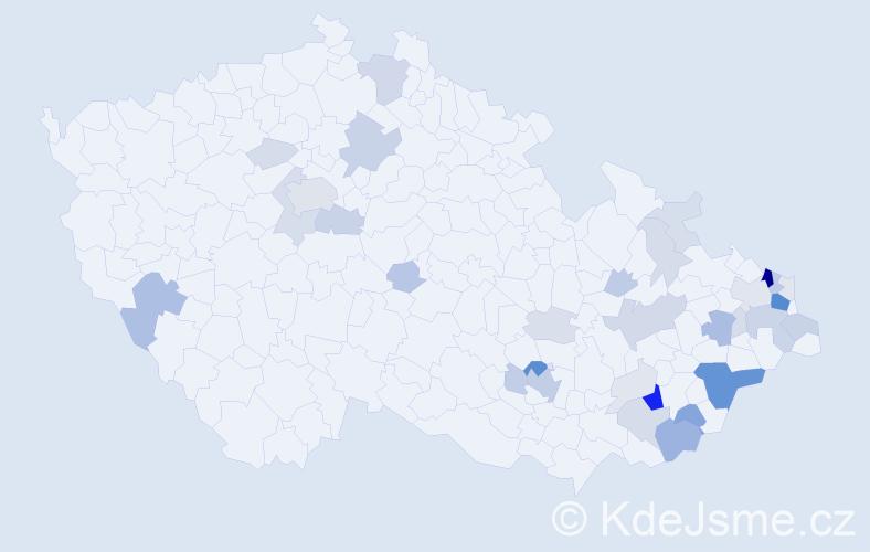Příjmení: 'Gabryšová', počet výskytů 123 v celé ČR