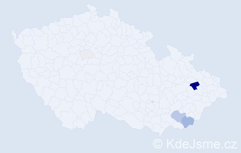 Příjmení: 'Elknerová', počet výskytů 10 v celé ČR