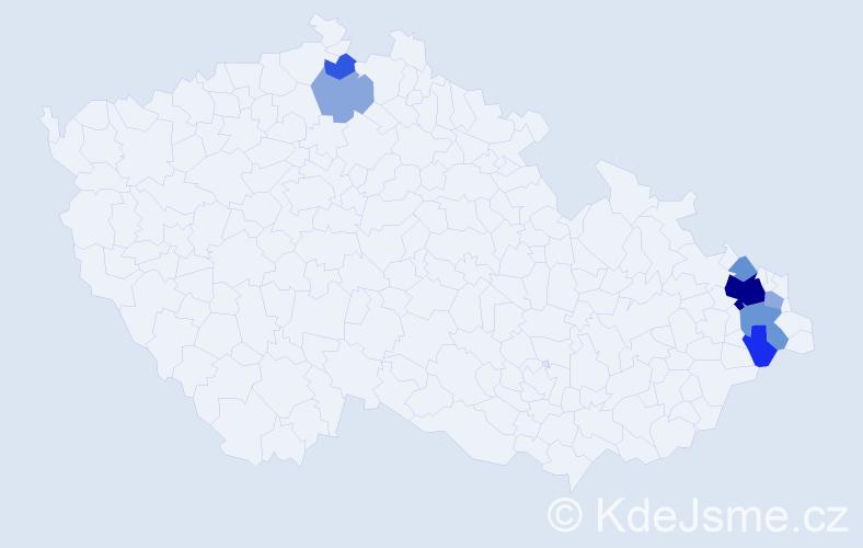 Příjmení: 'Kludka', počet výskytů 39 v celé ČR