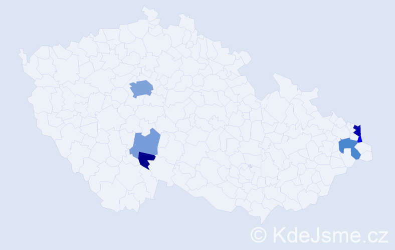 Příjmení: 'Jeleň', počet výskytů 16 v celé ČR