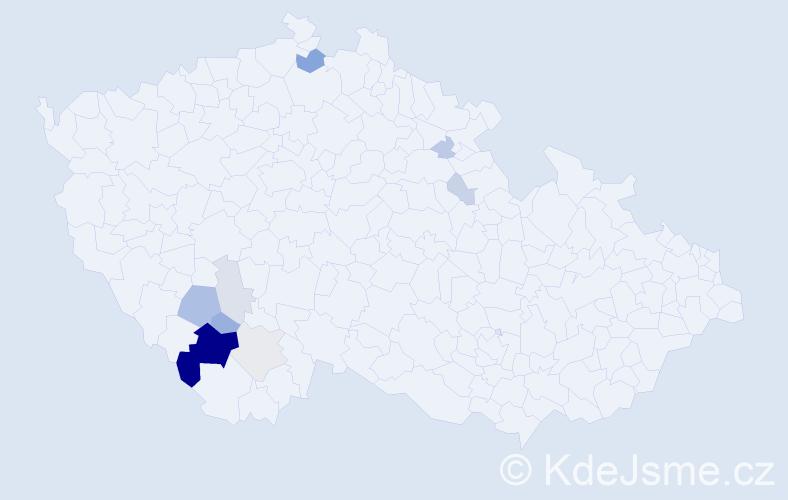 Příjmení: 'Čužnová', počet výskytů 27 v celé ČR