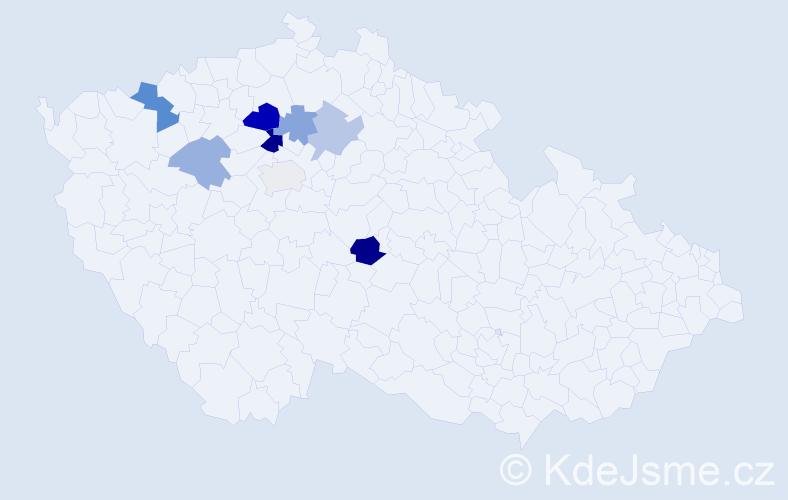 Příjmení: 'Cejhonová', počet výskytů 14 v celé ČR
