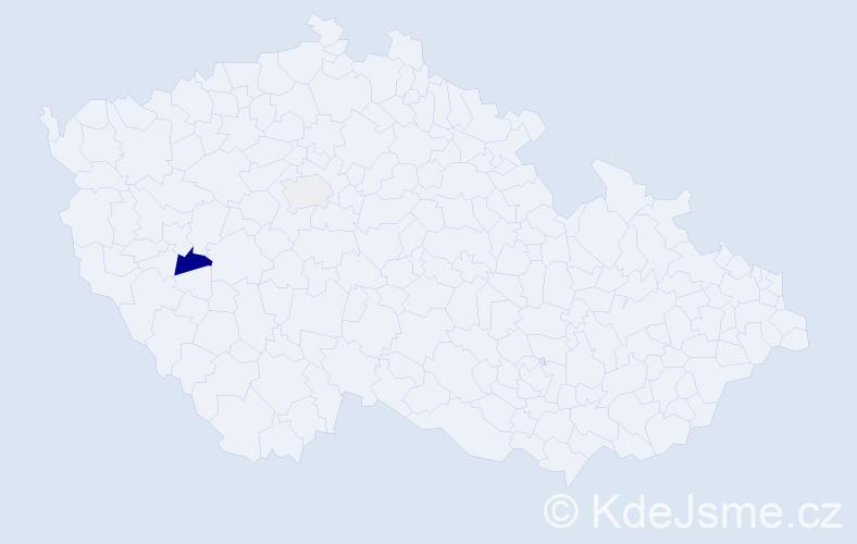 Příjmení: 'Maňha', počet výskytů 6 v celé ČR