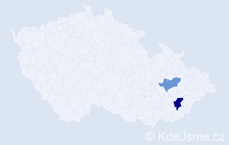 Příjmení: 'Dekarová', počet výskytů 6 v celé ČR