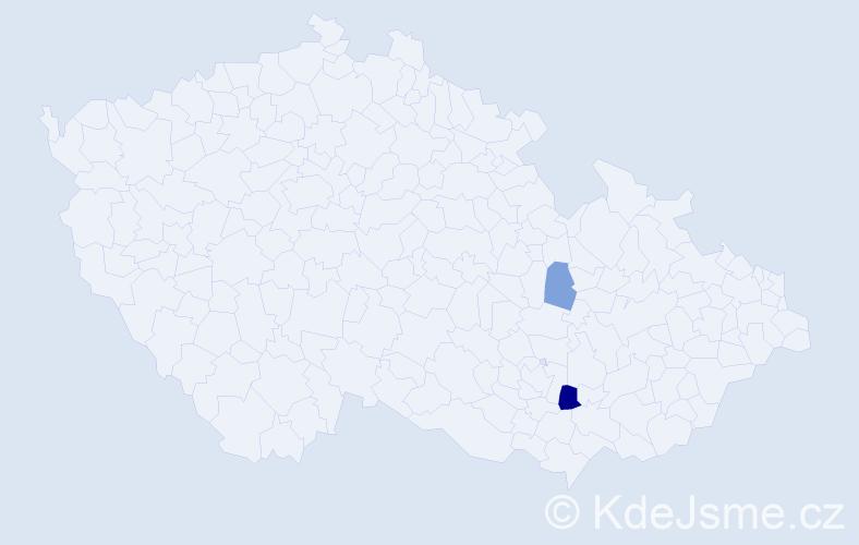 Příjmení: 'Kramčík', počet výskytů 4 v celé ČR