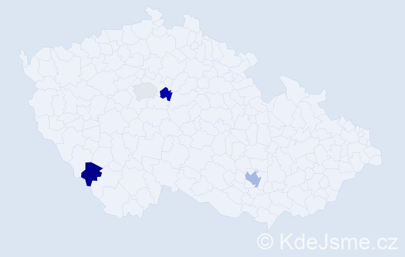 Příjmení: 'Končitá', počet výskytů 5 v celé ČR