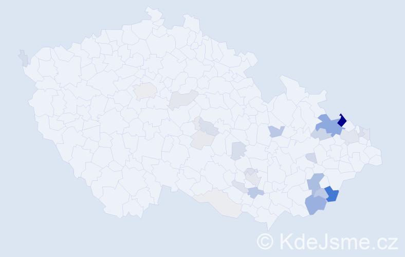 Příjmení: 'Bělák', počet výskytů 109 v celé ČR