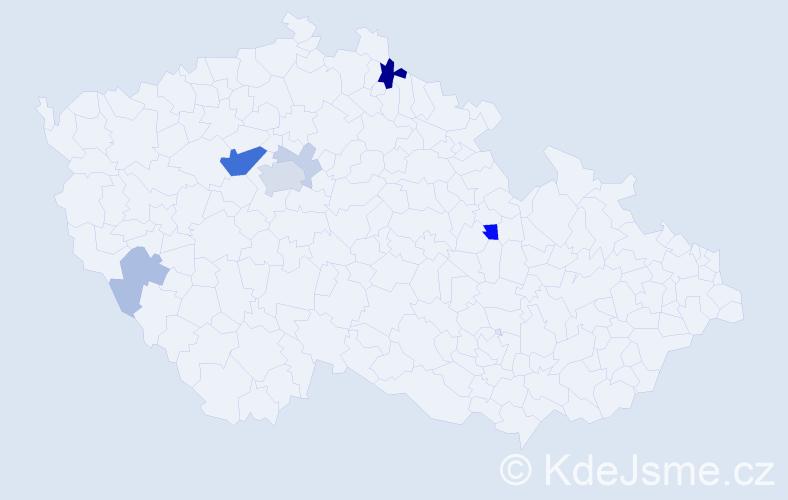 Příjmení: 'Gibiš', počet výskytů 19 v celé ČR