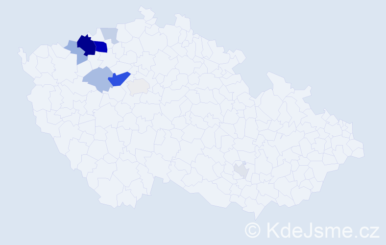 Příjmení: 'Kluc', počet výskytů 29 v celé ČR