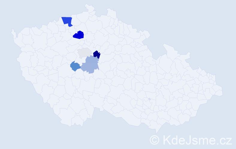 Příjmení: 'Čutíková', počet výskytů 16 v celé ČR