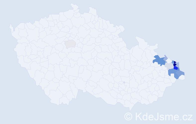 Příjmení: 'Godula', počet výskytů 67 v celé ČR