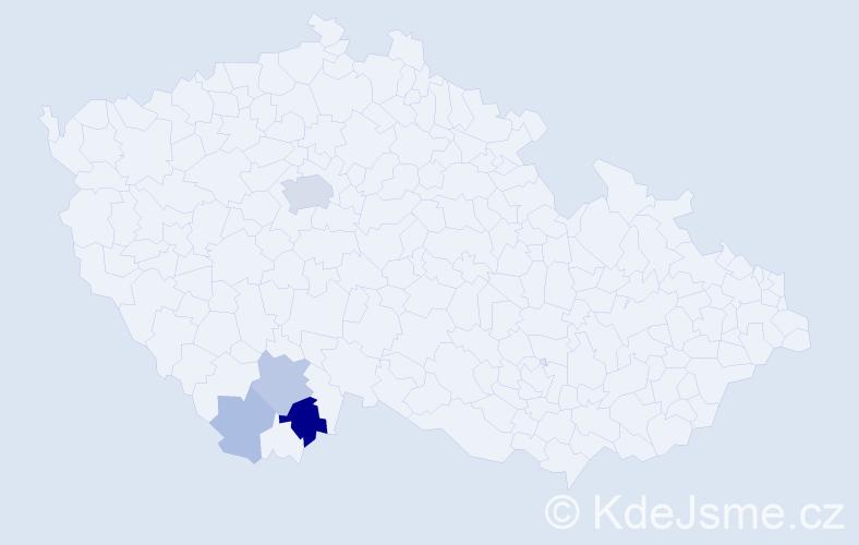 Příjmení: 'Kopt', počet výskytů 12 v celé ČR