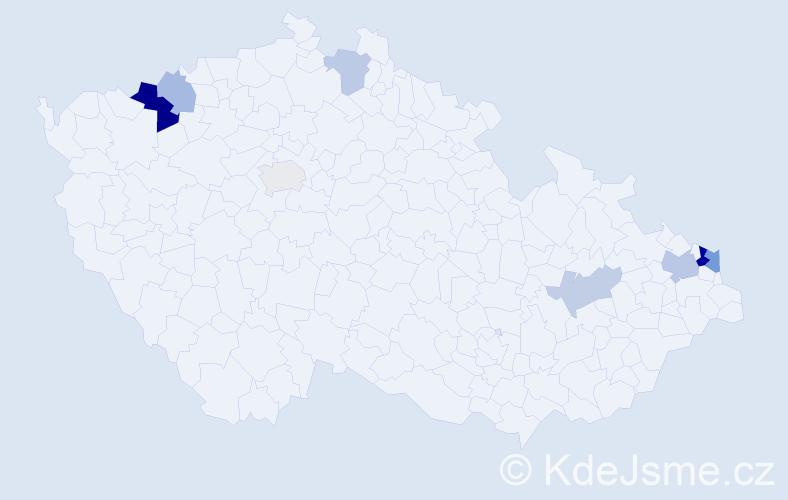 Příjmení: 'Fianová', počet výskytů 16 v celé ČR