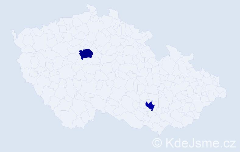 Příjmení: 'Cotton', počet výskytů 4 v celé ČR