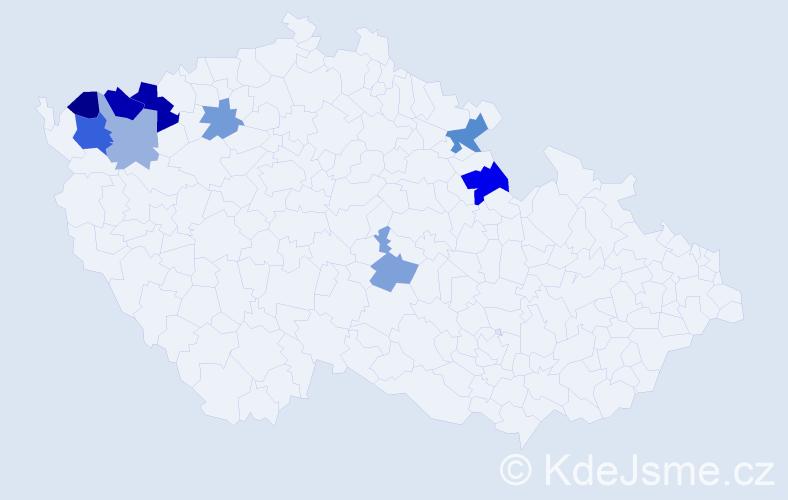Příjmení: 'Lechan', počet výskytů 16 v celé ČR