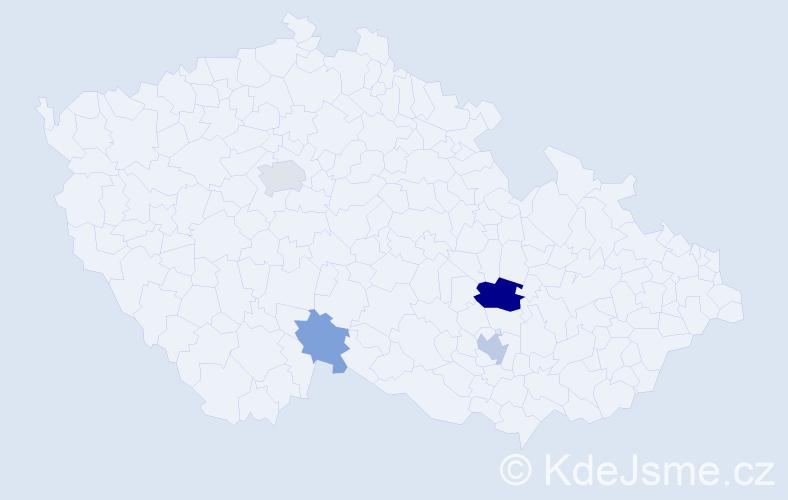 Příjmení: 'Člupková', počet výskytů 18 v celé ČR