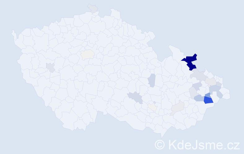Příjmení: 'Křištofová', počet výskytů 95 v celé ČR