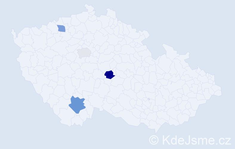 Příjmení: 'Girschiková', počet výskytů 5 v celé ČR