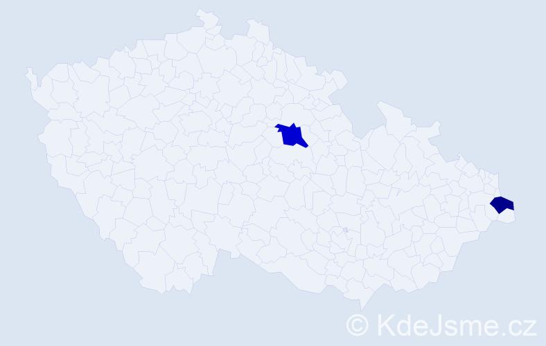 Příjmení: 'Konstantin', počet výskytů 10 v celé ČR