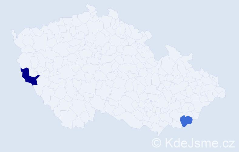 Příjmení: 'Gureň', počet výskytů 7 v celé ČR