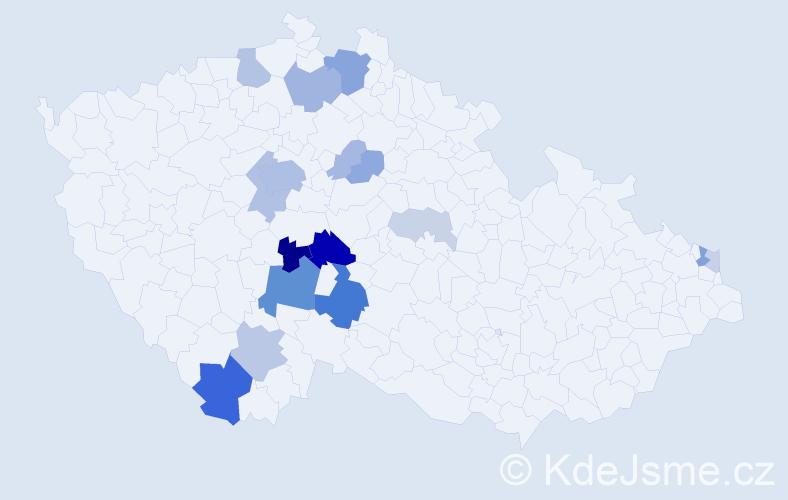 Příjmení: 'Fáčková', počet výskytů 52 v celé ČR