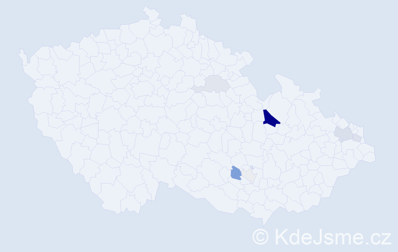 Příjmení: 'Blanka', počet výskytů 18 v celé ČR