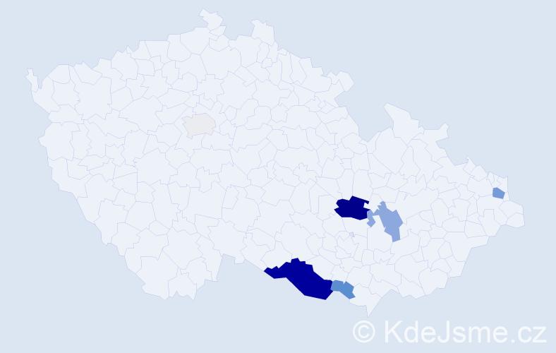 Příjmení: 'Halečková', počet výskytů 22 v celé ČR