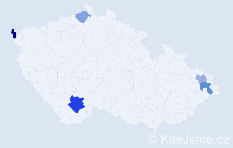 Příjmení: 'Haragal', počet výskytů 10 v celé ČR