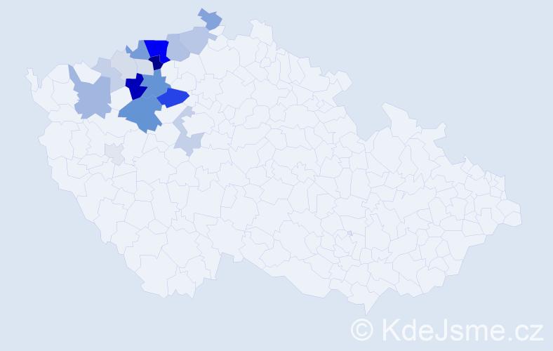 Příjmení: 'Čečrlová', počet výskytů 63 v celé ČR