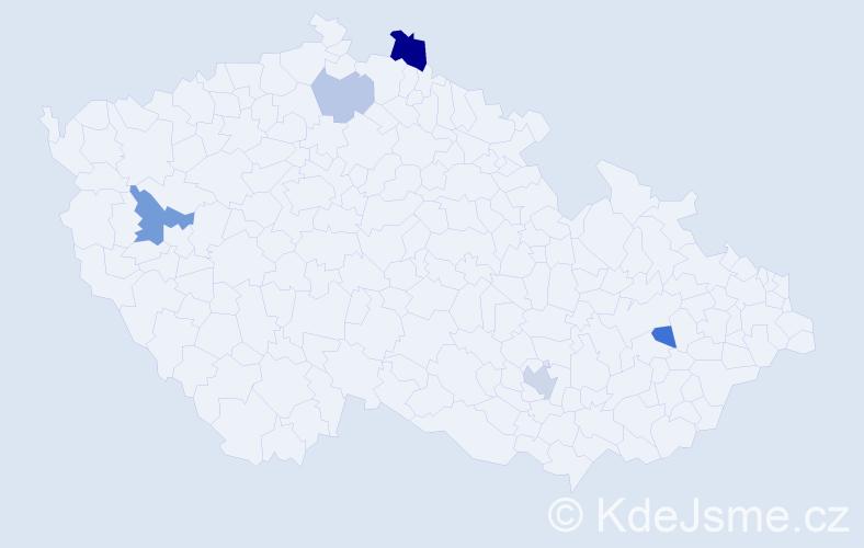 Příjmení: 'Jediný', počet výskytů 9 v celé ČR
