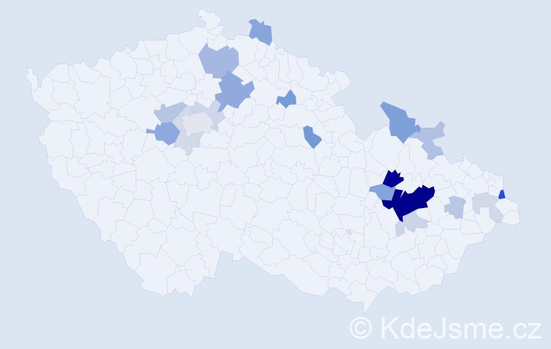 Příjmení: 'Baleková', počet výskytů 51 v celé ČR
