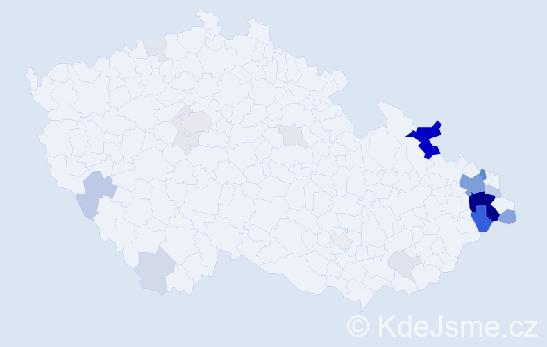 Příjmení: 'Garbová', počet výskytů 96 v celé ČR