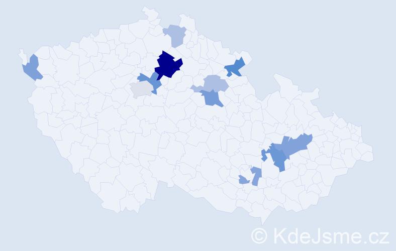 Příjmení: 'Knill', počet výskytů 22 v celé ČR