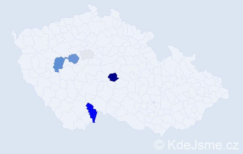 Příjmení: 'Bargerová', počet výskytů 5 v celé ČR