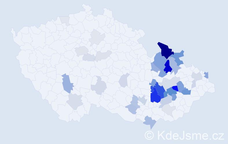 Příjmení: 'Lasovská', počet výskytů 138 v celé ČR