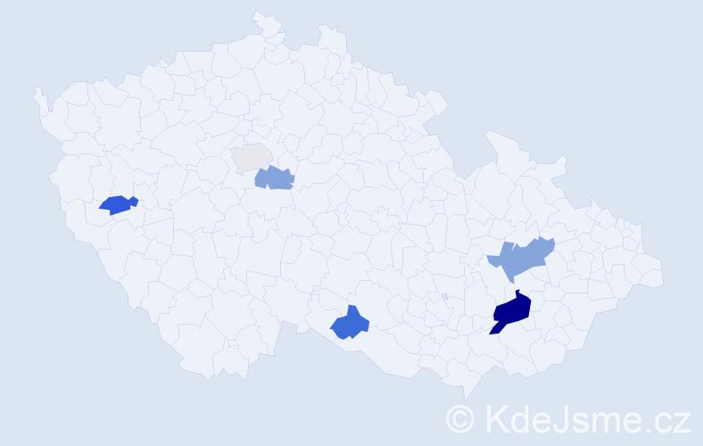 Příjmení: 'Gerák', počet výskytů 11 v celé ČR