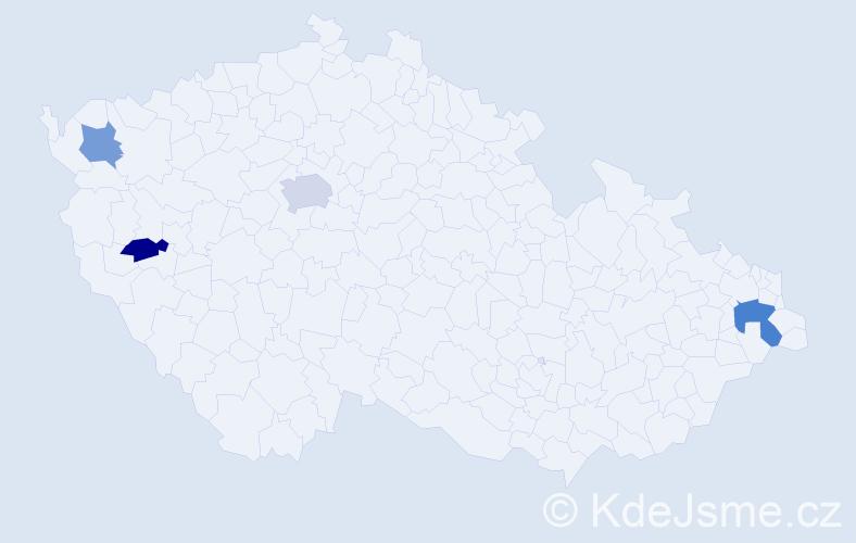 Příjmení: 'Hadravský', počet výskytů 6 v celé ČR