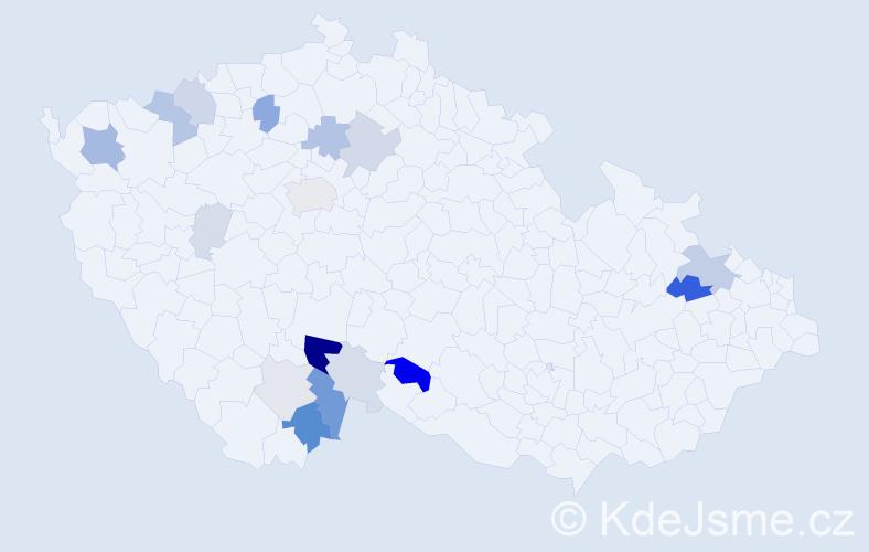 Příjmení: 'Hrošková', počet výskytů 45 v celé ČR