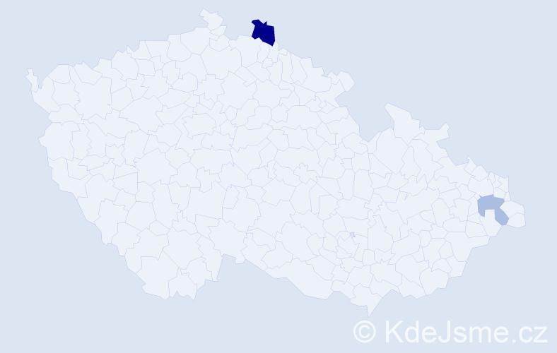 Příjmení: 'Istenáková', počet výskytů 3 v celé ČR