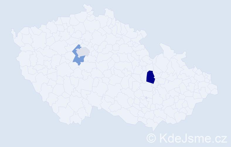 Příjmení: 'Jakobsen', počet výskytů 3 v celé ČR