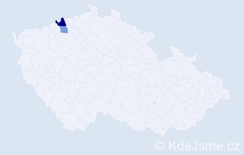 Příjmení: 'Čidlový', počet výskytů 3 v celé ČR