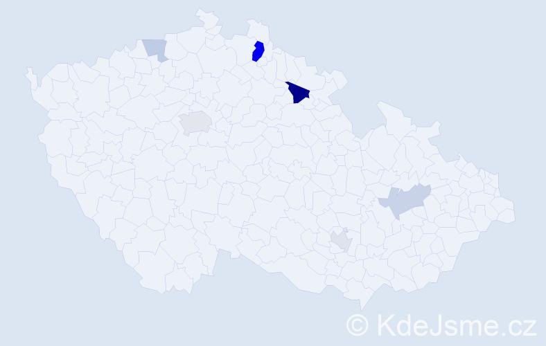 Příjmení: 'Barone', počet výskytů 13 v celé ČR