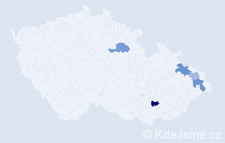 Příjmení: 'Banetka', počet výskytů 9 v celé ČR