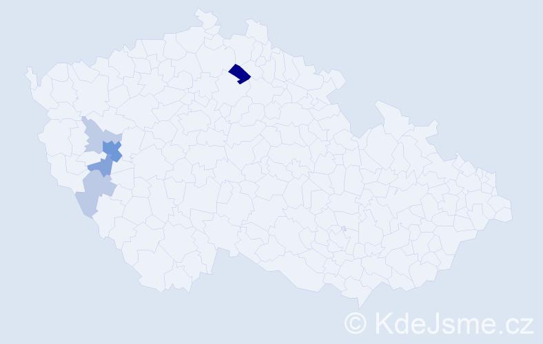 Příjmení: 'Bártička', počet výskytů 14 v celé ČR