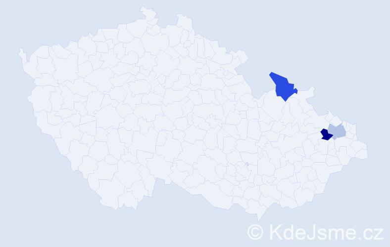 Příjmení: 'Činčialová', počet výskytů 3 v celé ČR