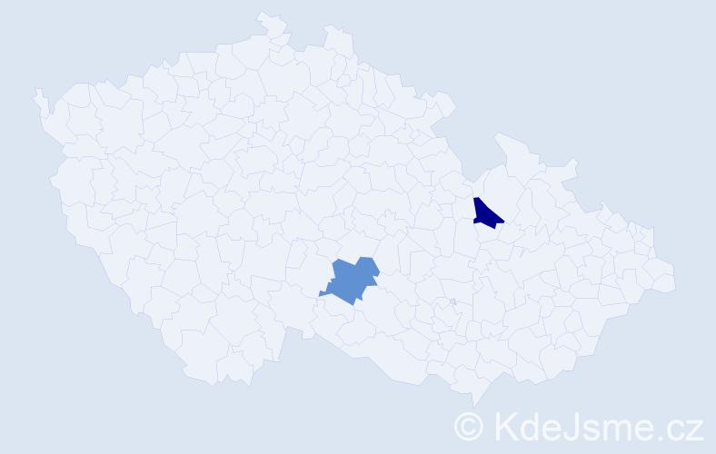 Příjmení: 'Gracia', počet výskytů 2 v celé ČR