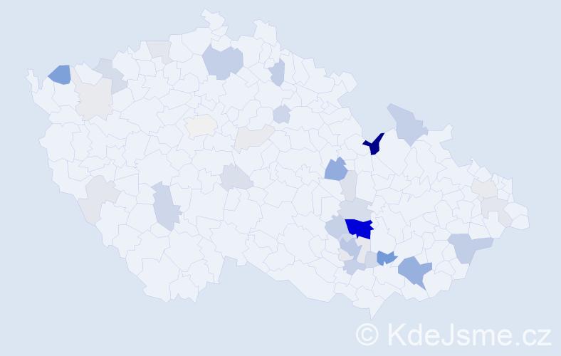 Příjmení: 'Čuma', počet výskytů 130 v celé ČR